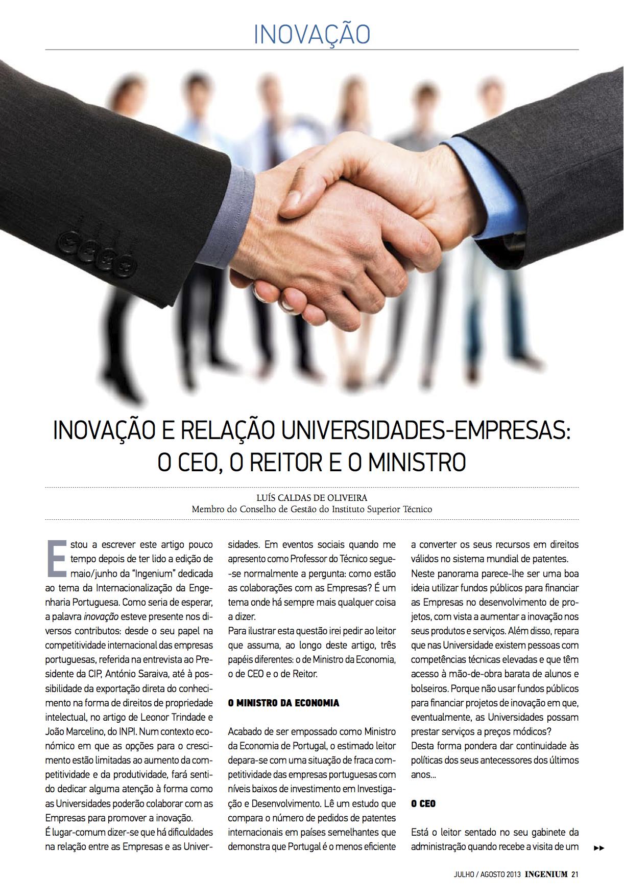 Artigo na revista Ingenium de jul-ago 2013